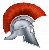 Illustration of side on Spartan helmet or Trojan helmet also called a Corinthian helmet. Versions also used by the Romans. poster