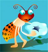 Illustration of a cartoon insect with flower in hand poster
