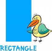 Cartoon Illustration of Rectangle Basic Geometric Shape with Funny Bird Character for Children Education poster