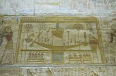 Ancient Egyptian bas relief of a sacred barque boat  used to travel to the afterlife.  Wall of Abydos Temple, Egypt.  On display over 2,000 years. poster