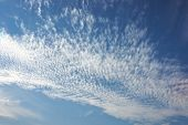 interesting sky view of white clouds splattered against a blue sky poster