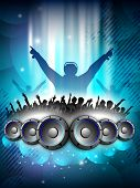 Disc Jockey with speakers and dancing peoples silhouette. EPS 10. poster
