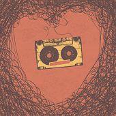 Loving retro music retro poster design. Vector, EPS10
