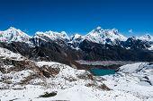 Famous peaks view from Renjo Pass: Everest Pumori Makalu Changtse Nirekha in Himalayas poster