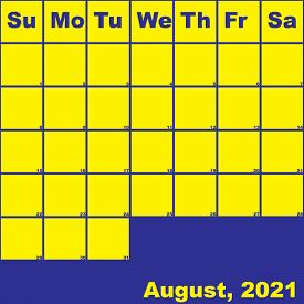 2021 August Yellow On Blue Planner Calendar With Huge Space For Notes