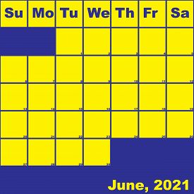 2021 June Yellow On Blue Planner Calendar With Huge Space For Notes