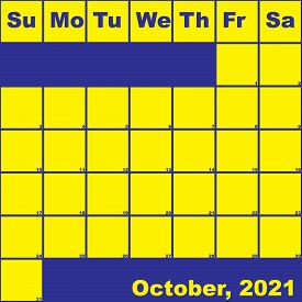 2021 October Yellow On Blue Planner Calendar With Huge Space For Notes