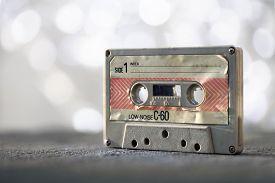 Audio cassette tape vintage analog recording medium from 1970's