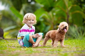 Kids Play With Puppy. Children And Dog In Garden.