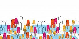 Ice Pop Parade Border-sweet Dreams Seamless Repeat Pattern. Pattern Border In Pink, Blue, Orange, Ye