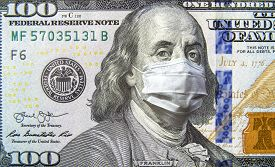 Covid-19 Coronavirus In Usa, 100 Dollar Money Bill With Face Mask. Coronavirus Affects Global Stock
