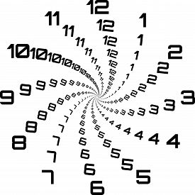 Clock Dial Black Big Numbers Swirl Hourly Black On Transparent Background