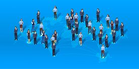 A Group Of People Are Getting To Business, Global Map Earth Of Business People.