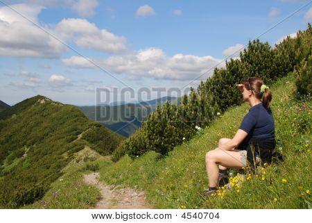Woman Hiker Makes Break