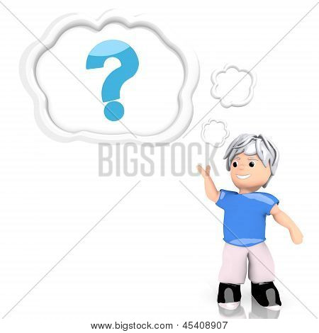 question icon  thought by a 3d character