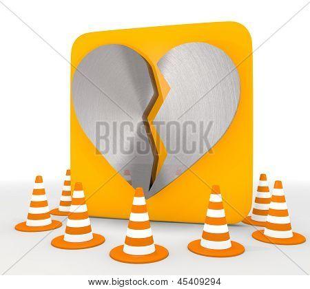 Illustration of a broken broken heart icon