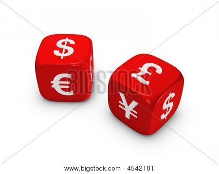 Pair Of Red Dice With Currency Sign