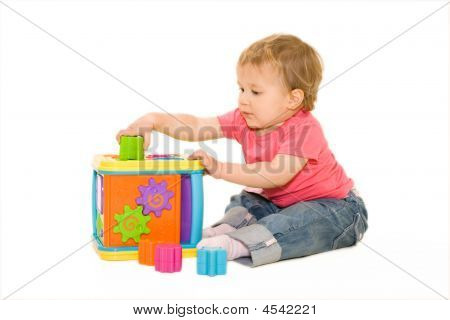 Beautiful Baby Playing With Activity Cube