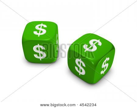 Pair Of Green Dice With Dollar Sign