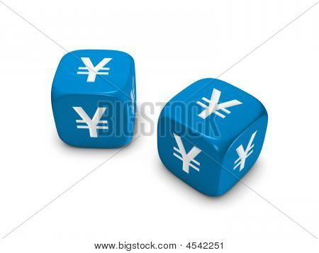 Pair Of Blue Dice With Yen Sign
