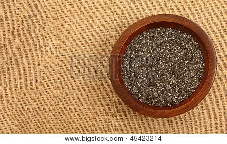 Wooden Bowl With Chia Seeds