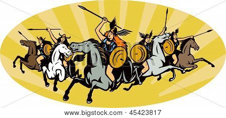 Valkyrie warriors riding horse