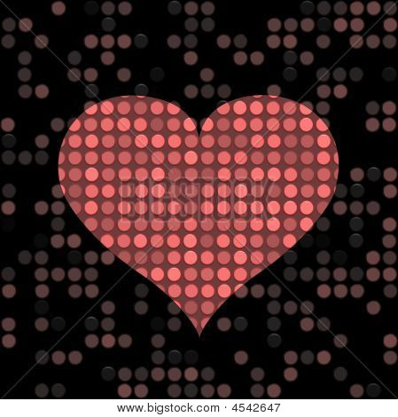 speckled red heart shape on a dark background poster