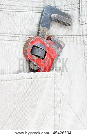 Jeans pocket with spanner
