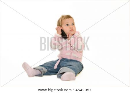 Very Nice Looking Baby With Cellphone