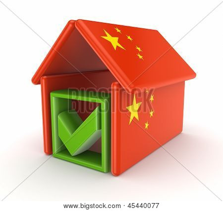 Tick mark under chinese flag.