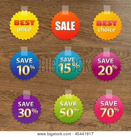 Big Colorful Sale Tags With Wooden Background, With Gradient Mesh, Vector Illustration