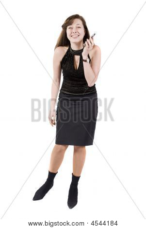 Attractive Brunette Businesswoman Talking Over The Phone