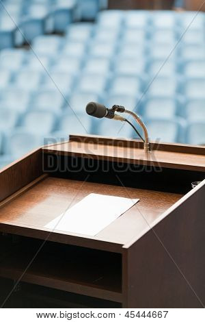 Speaker's Table With Paper, Your Text Possible