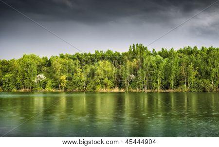 Rain Over Green Lake At Dusk