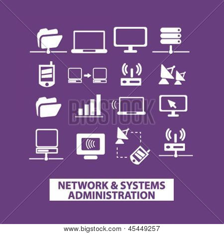 network, systems, computer organization, connection icons, signs set, vector