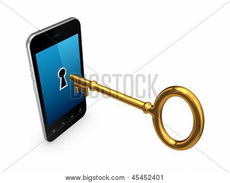 Golden key in a modern mobile phone.