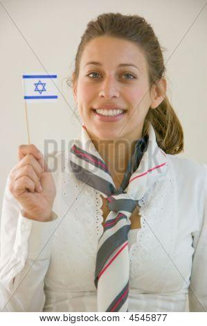 Stewardess With Israeli Flag