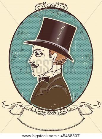 Elegant Gentleman In A Top Black Hat.vector Vintage Portrait