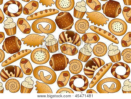 Seamless background with bakery products