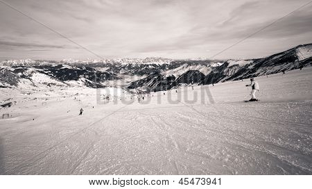 Winter ski slopes on Kaprun resort next to Kitzsteinhorn peak in Austrian Alps - 2011