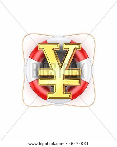 Symbol of yen on life buoy.