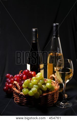 wine and grapes still life poster