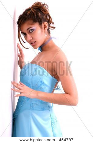 Brunette In Blue Prom Dress