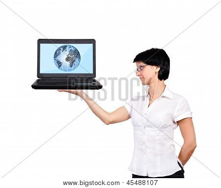 Laptop With Globe