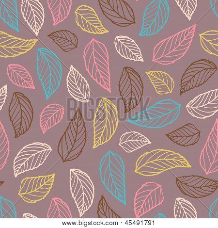 Colorful Leaf Silhouettes Seamless