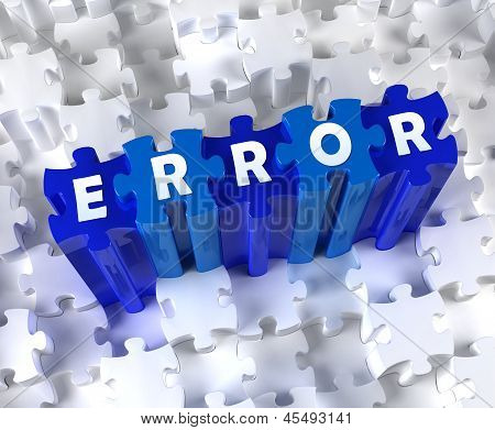 Creative 3D pieces of puzzle and word ERROR