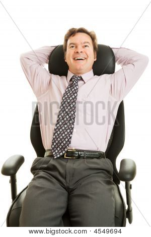 Businessman Enjoys Ergonomic Chair