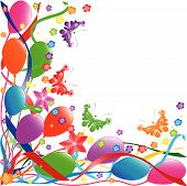 Colorful birthday balloons flowers butterflies ribbons. vector poster