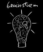 brainstorm. huge bulb made of small ones poster