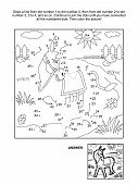 Connect the dots picture puzzle and coloring page - donkey. Answer included. poster